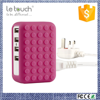 2017 phone accessories colorful silicone smart desktop 4 usb ports high speed charging worldwide travel charger