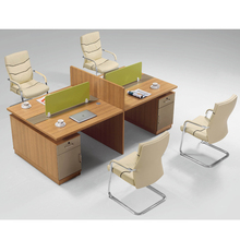 Contemporary Simple office table wooden Two sided 4 people office desk