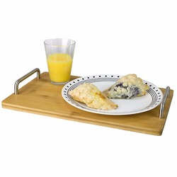 Bamboo Serving Tray with Stainless Steel Handles/ Modern Fruit and Cheese Platter Board