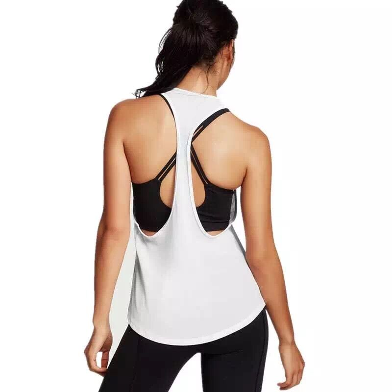 gym 2017 bodybuilding gym clothes singlet running white vest elastic back tank top sport wear woman fitness crop top plain