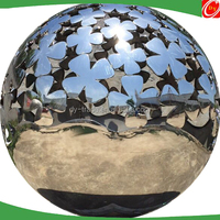 1M stainless steel hollow ball with roses, large hollow stainless steel ball sculpture