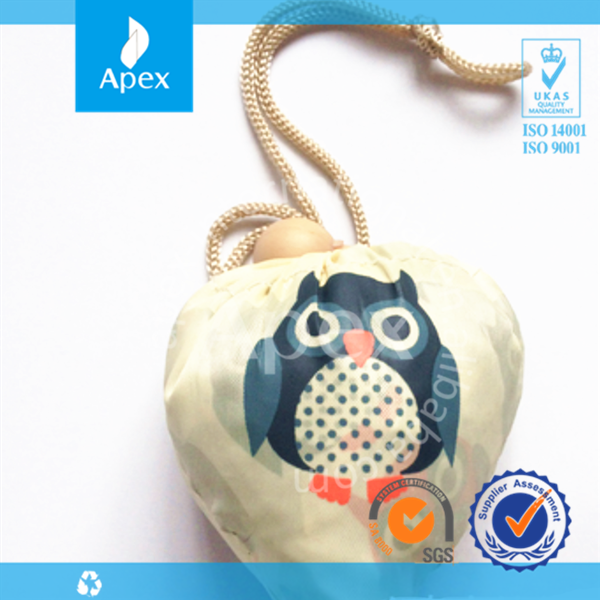 Pocket foldable tote bags or owl drawstring bag