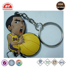 Basketball player hold the ball novelty design key ring plastic keychain OEM manufacturer ICTI