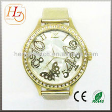 2013 vogue mop dial gold color ladies big face watches 9501