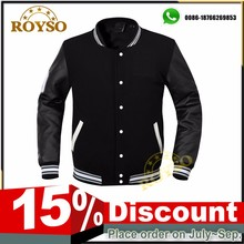 Custom Men and Women American Black Baseball Team Bomber Soft Shell Varsity Jacket with Synthetic Leather Sleeves