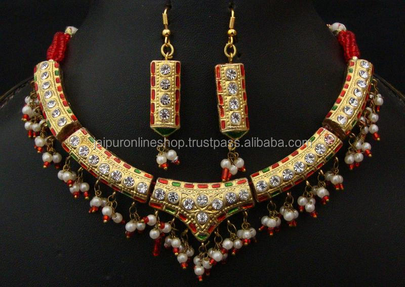 wedding gift rajasthani rajputi lac hasali necklace and earrings set