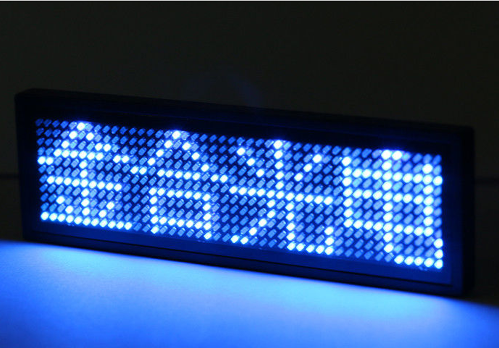 Blue LED Name Badge 1.8 mm Pixels with 4 Levels Brightness Adjustment