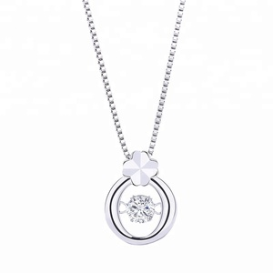 Jewelry Making Supplies Four-leaf Clover Pendant Necklace 925 Sterling Silver Quartz Gemstone Pendants