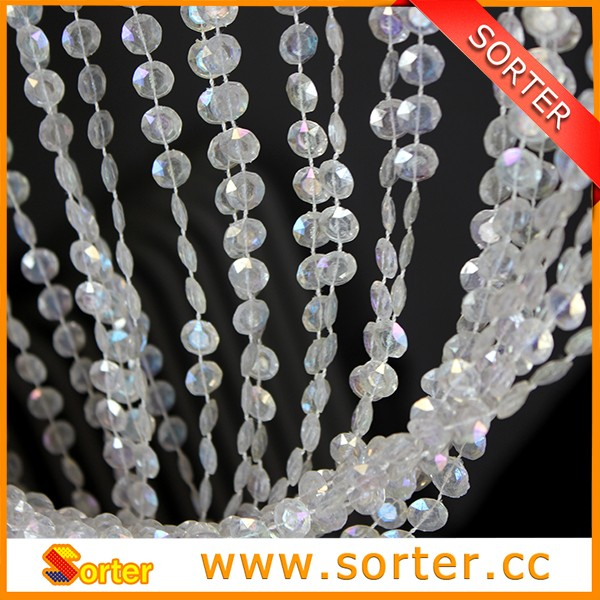 Metallic Silver Plastic Bubble Beaded Curtain for Room Decoration