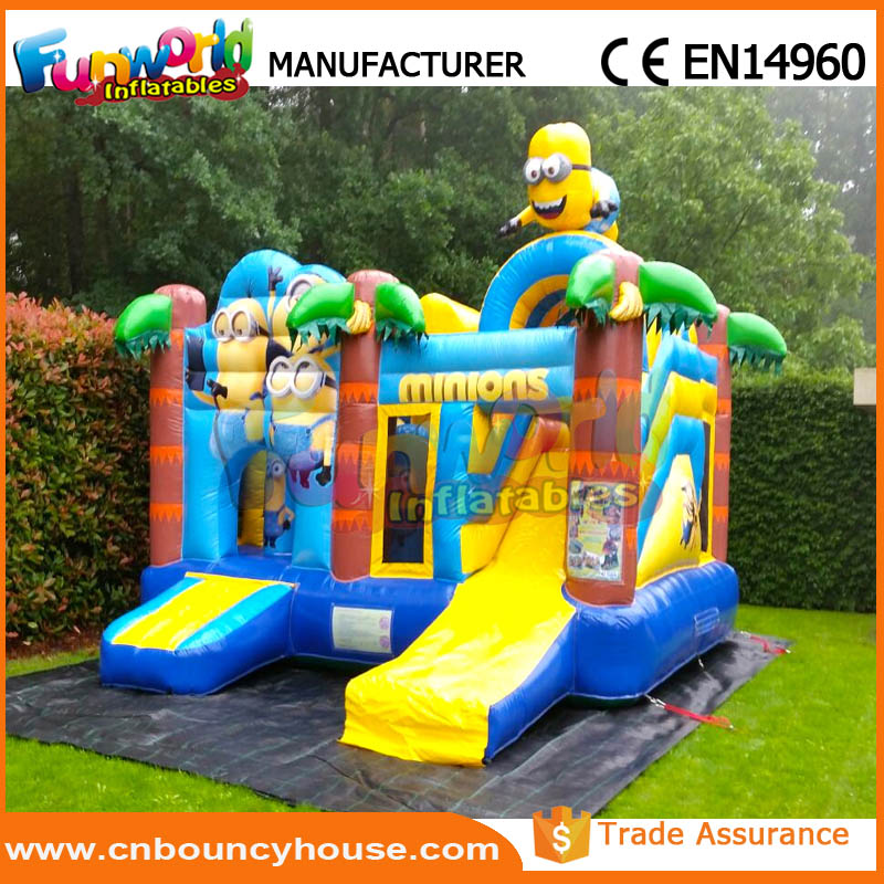 Combo bouncer with slide inflatable minions bounce house