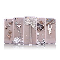 diamond phone case for iphone 6 mobile cover / custom hard electroplate case
