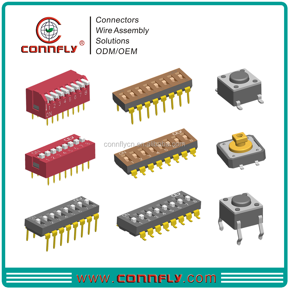 Top level 1.27mm, 2.54mm pitch DIP Switch & Tact Switch with CE FCC certificated