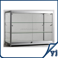 Hot sale titanium alloy frame lockable glass jewelry display cabinet/jewelry display case