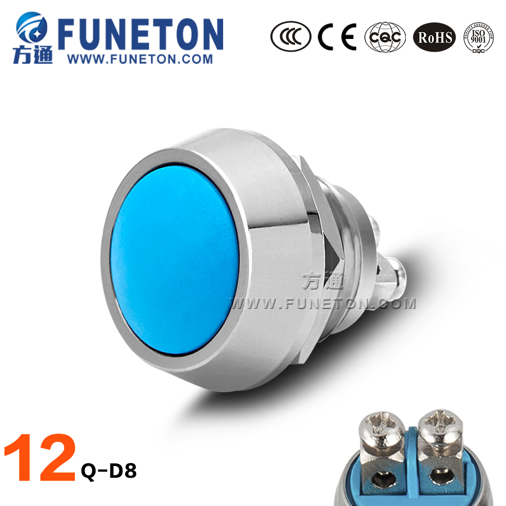 Stainless steel led light illuminated pushbutton switch 12mm