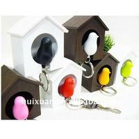 yiwu stock bird cage shaped Key Chain with SOS Whistle sparrow Pendant phone strap