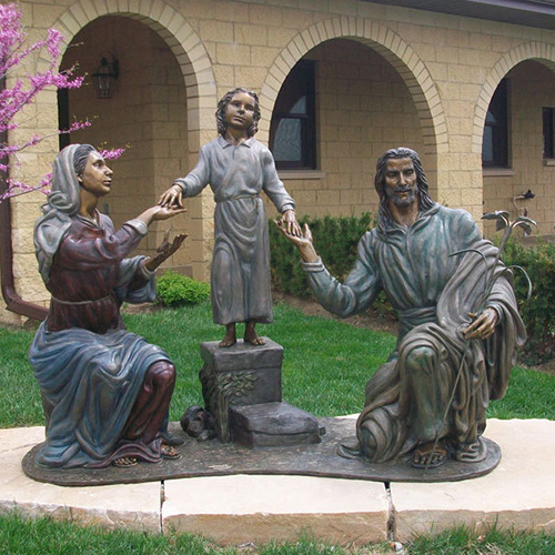 Church art figures decoration custom bronze holy family outdoor statue