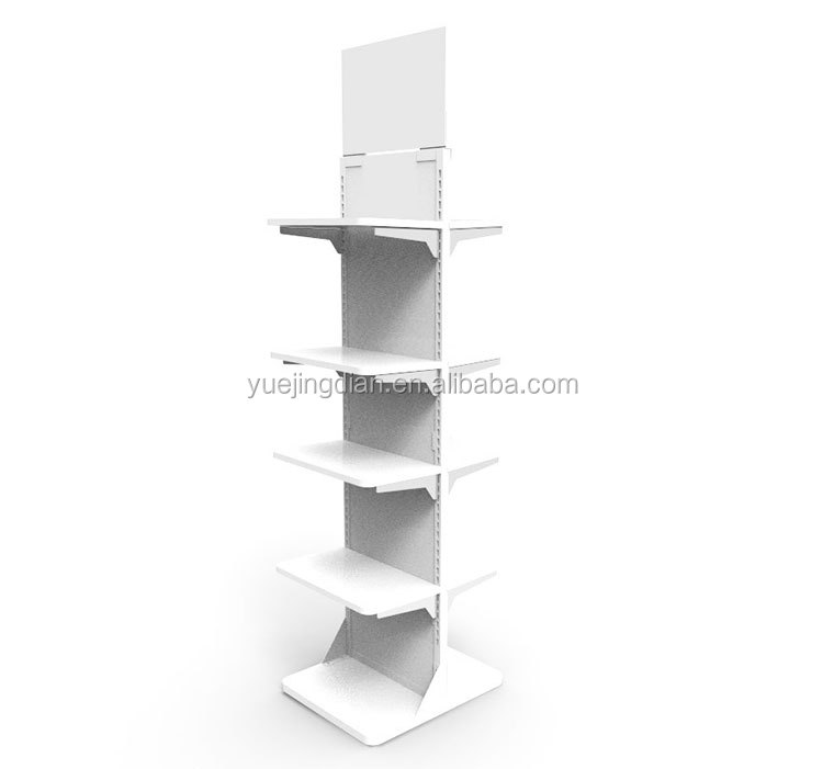 Commodity exhibition 5 tiers display shelf two sided flree standing metal stand rack
