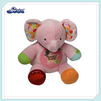 colorful pink stuffed elephant baby toys with music
