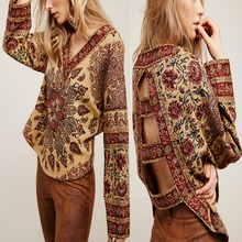 New design oem old yellow vintage ethnic long sleeve embroidered blouse
