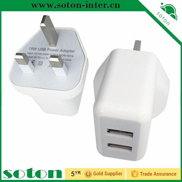 UK standard 5V 2.4A universal dual usb wall charger for home and travel charger