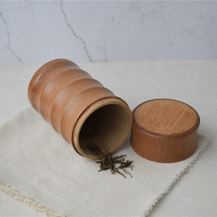 OEM customized eco-friendly natural round <strong>bamboo</strong> tea storage packing canister with lid