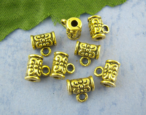 80Pcs Antique Gold Carved Tube Spacer Beads Bail 4*7mm,Hottest