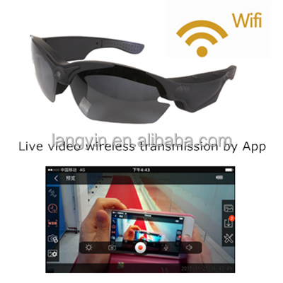 High Tech full hd 1080p Wifi camera Sun glasses UV400, support live video wireless transmission by App