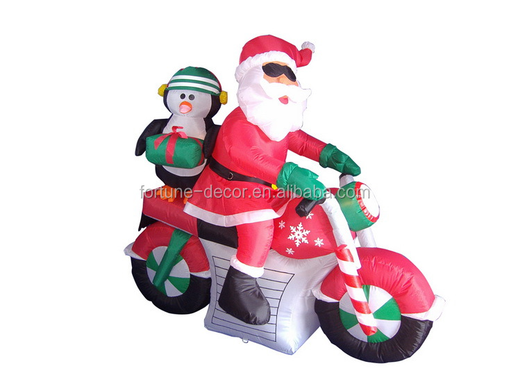 150cm/5ft inflatable santa claus and penguin with gift bag ride a red motorcyc for christmas decoration