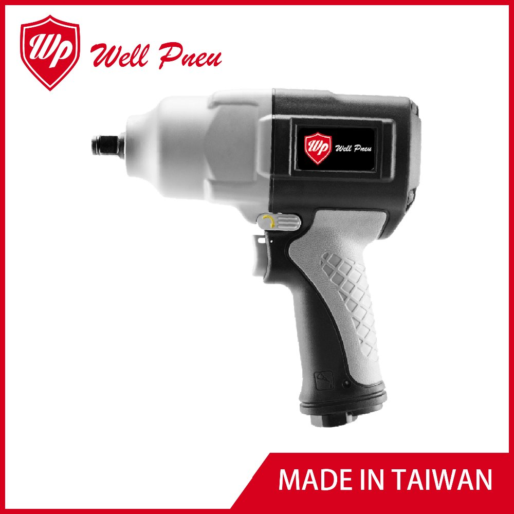 "HEAVY DUTY HIGH TORQUE TPR GRIP 1/2"" TWIN HAMMER AIR IMPACT WRENCH PW-7413"