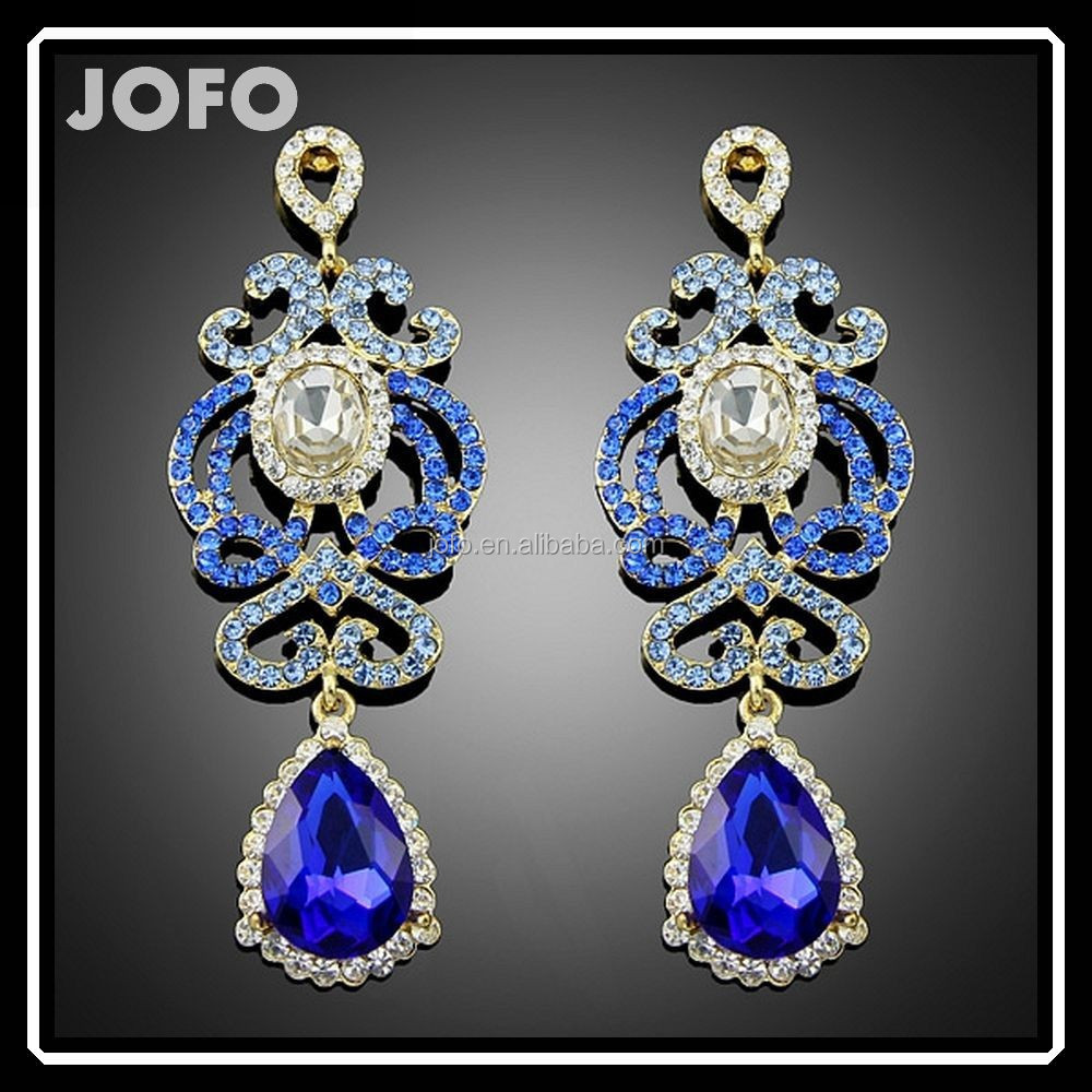 Bulk Drop Bridal Blue Crystal Retro Dangle Earrings Latest Items Of Goods In 2016