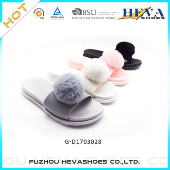 Real fashion soft fur ball lady pvc slipper