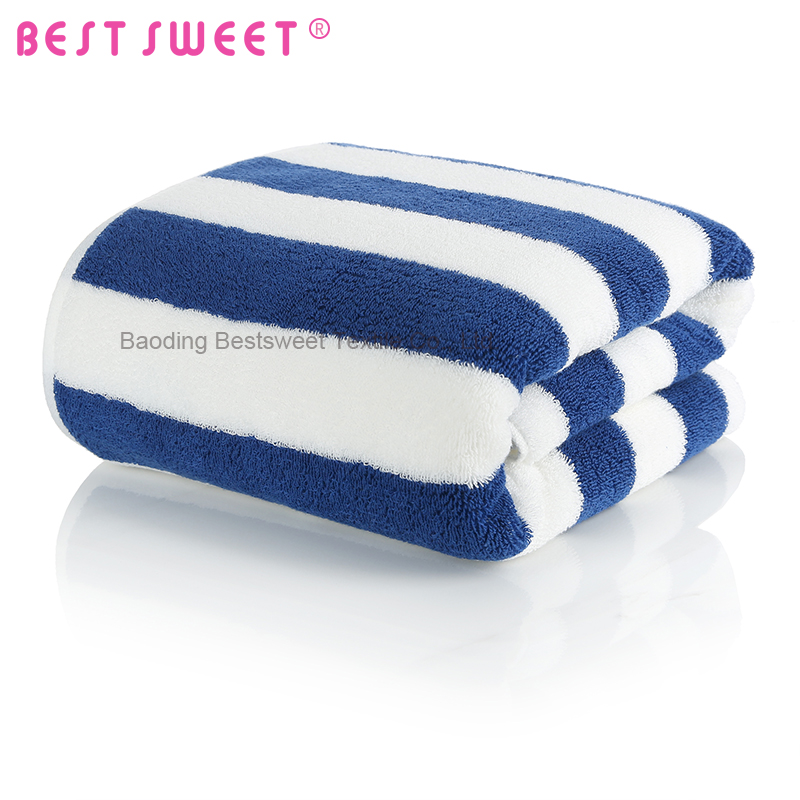 100% <strong>cotton</strong> blue and white striped cabana bath beach towel