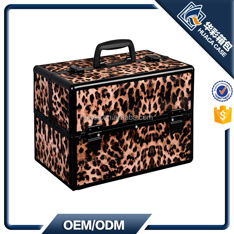Yellow Leopard Cosmetic Vanity Case Fashionable Makeup Train Case HHZI-008