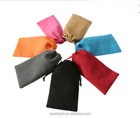 Customized suede drawstring jewelry bag pouches for glass with printed logo