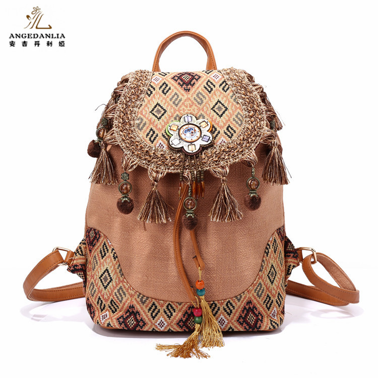 Bohemian Backpack Linen Bags Wholesale Vintage Style Women's Boho/Ethnic/Thailand Shoulder Bag For Travel