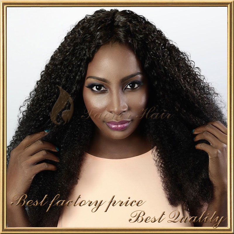 Hot sale unprocessed Indian virgin hair natural color african american kinky twist braided lace wig