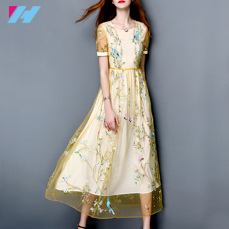 2017 new summer women's dress will show a thin silk lace gown embroidered dress