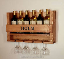 Rustic Wall Decor Handmade Wooden Wall Mounted Wine Bottle Holder Rack