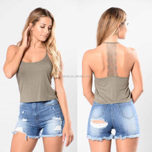Very Very Sexi Model Photo 95% Rayon 5% Spandex Sleeveless Scoop Neck Lace Back Detail Ribbed Cropped Halter Top Wholesale