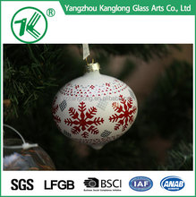 Hanging Christmas Glass Snow ballls Tealight Candle Garden Decoration Christmas Tree Balls 8 cm