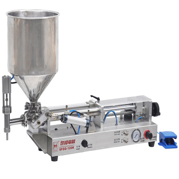 Full-pneumatic single-nozzle paste/liquid filling machine for small business