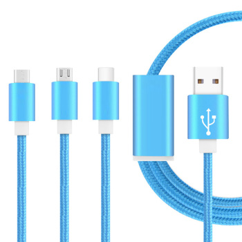 Shenzhen Factory CE Ceritifed 3 in 1 usb charging cable for iphone/micro/type c