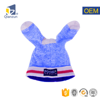 fur childrens hand fleece knit wool winter beanie hat ski cap with ear