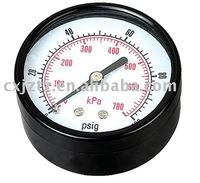 Y63 bourdon tube back gas low pressure gauge in black steel case