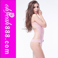 Wholesale paypal accept mature women hot open lace pink nighty beautiful sheer sexy lingerie for women