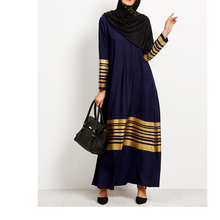 2018 Muslim Striped Lurex Long Sleeve Islamic Kaftan maxi Abaya dress