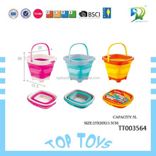 Summer outdoor Kids Favorite Beach folding Bucket Toys Plastic Sand Beach Toy For Sale