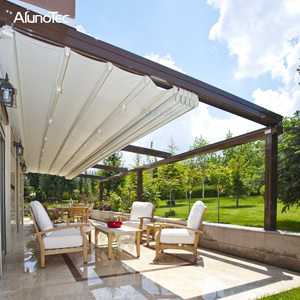 Motorized Aluminum Retractable Awnings Folding Roof Awning Outdoor With LED Light