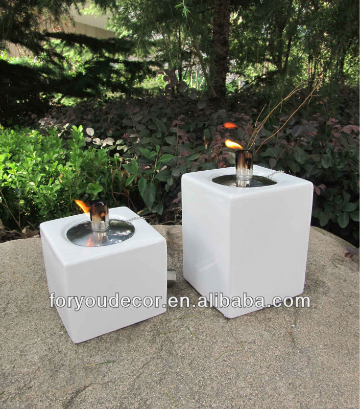 Cheap classic garden square ceramic table top oil lamps for decoration with fiberglass wick,stainless steel wick holder