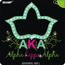 Wholesale Sorority Gift Alpha Kappas AKA Bling Iron On Rhinestone Transfer Jewelry Motif